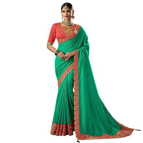 Fantastic Turquoise Green Colored Partywear Embroidered Silk Saree