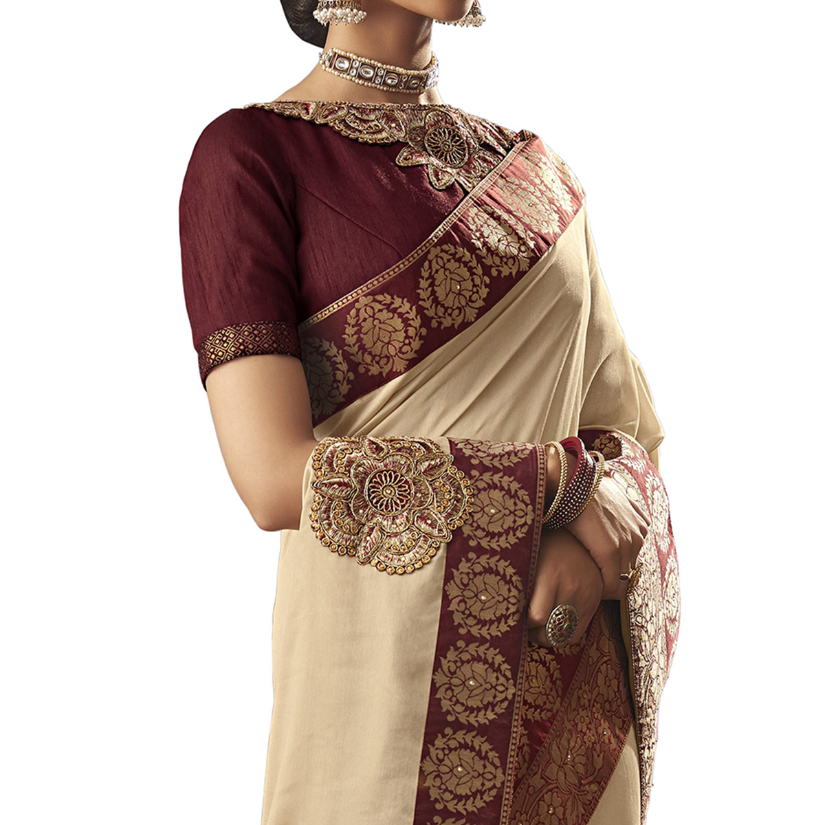 Amazing Cream Colored Partywear Embroidered Silk Saree