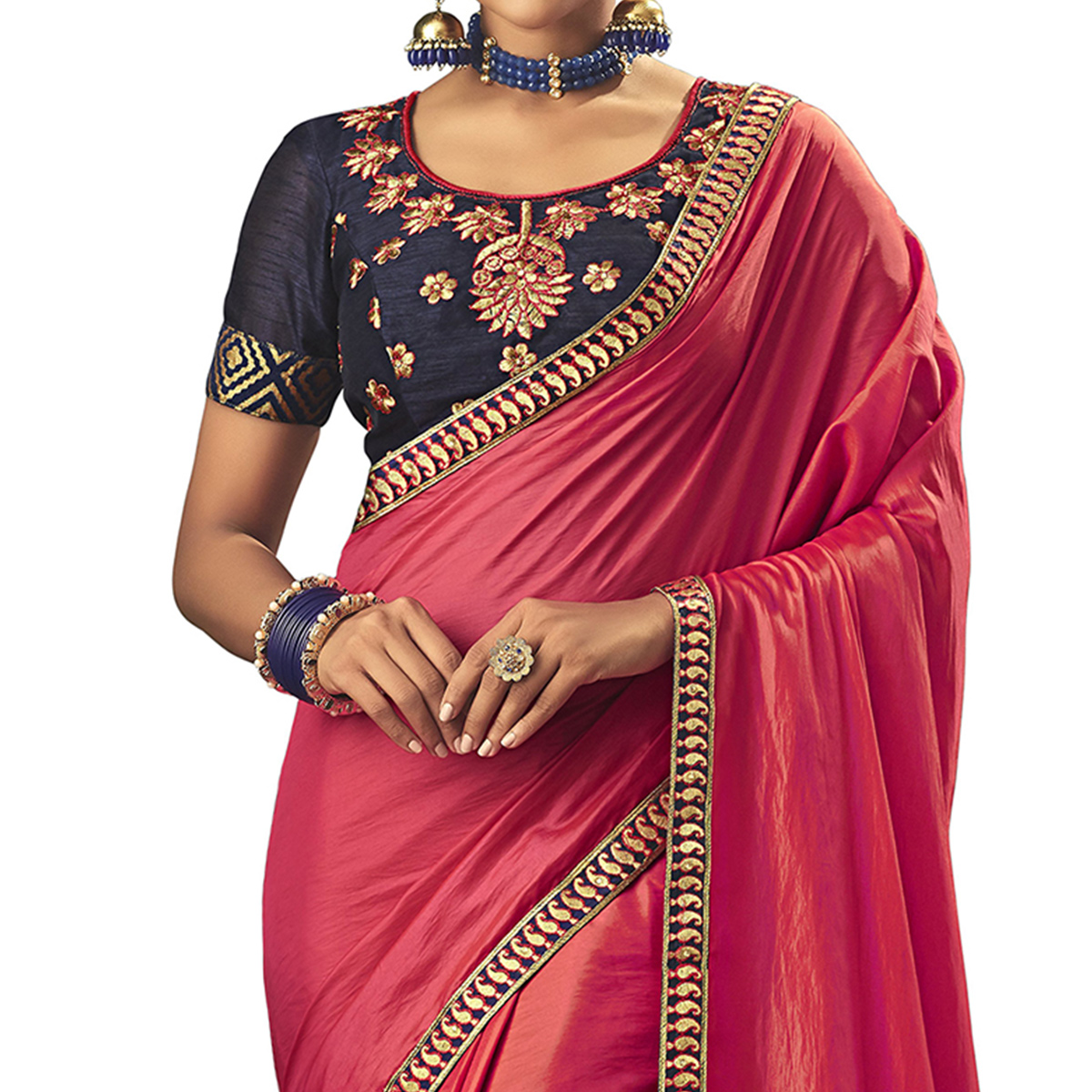 Hypnotic Pink Colored Partywear Embroidered Raw Silk Saree