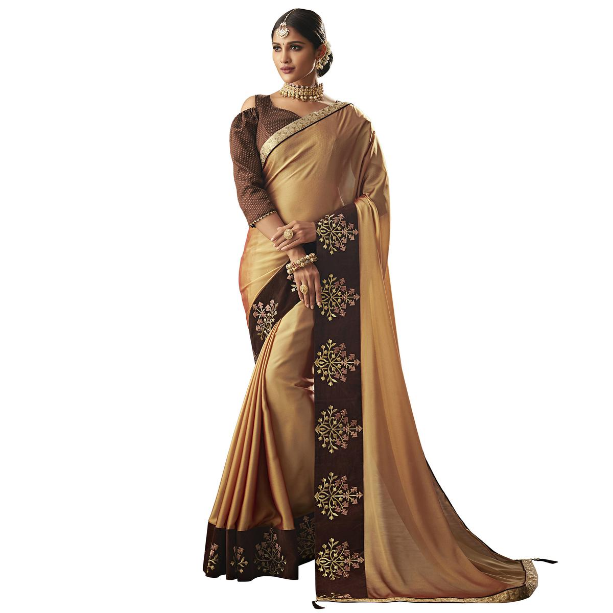 Flattering Beige Colored Partywear Embroidered Georgette Saree