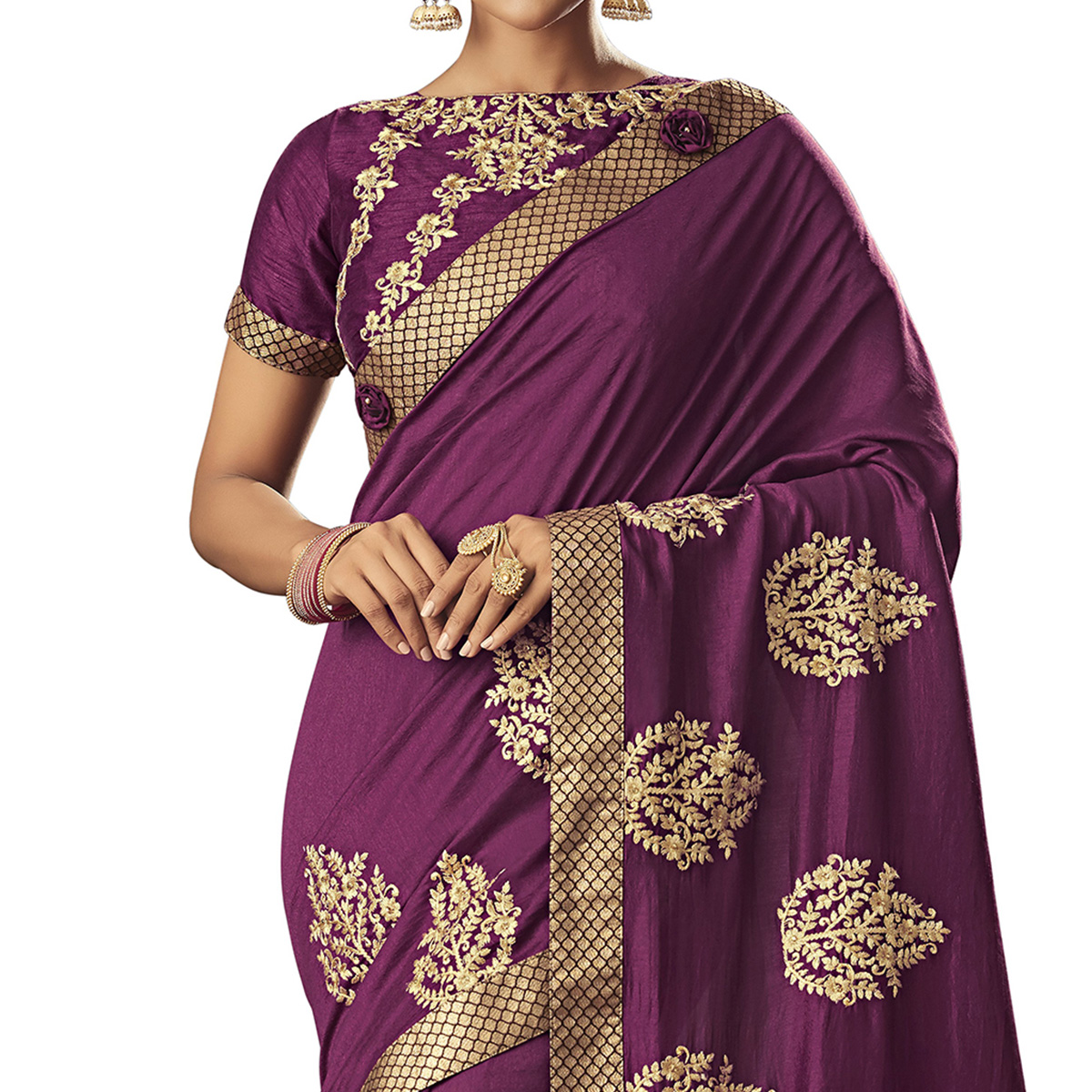 Excellent Purple Colored Partywear Embroidered Silk Saree