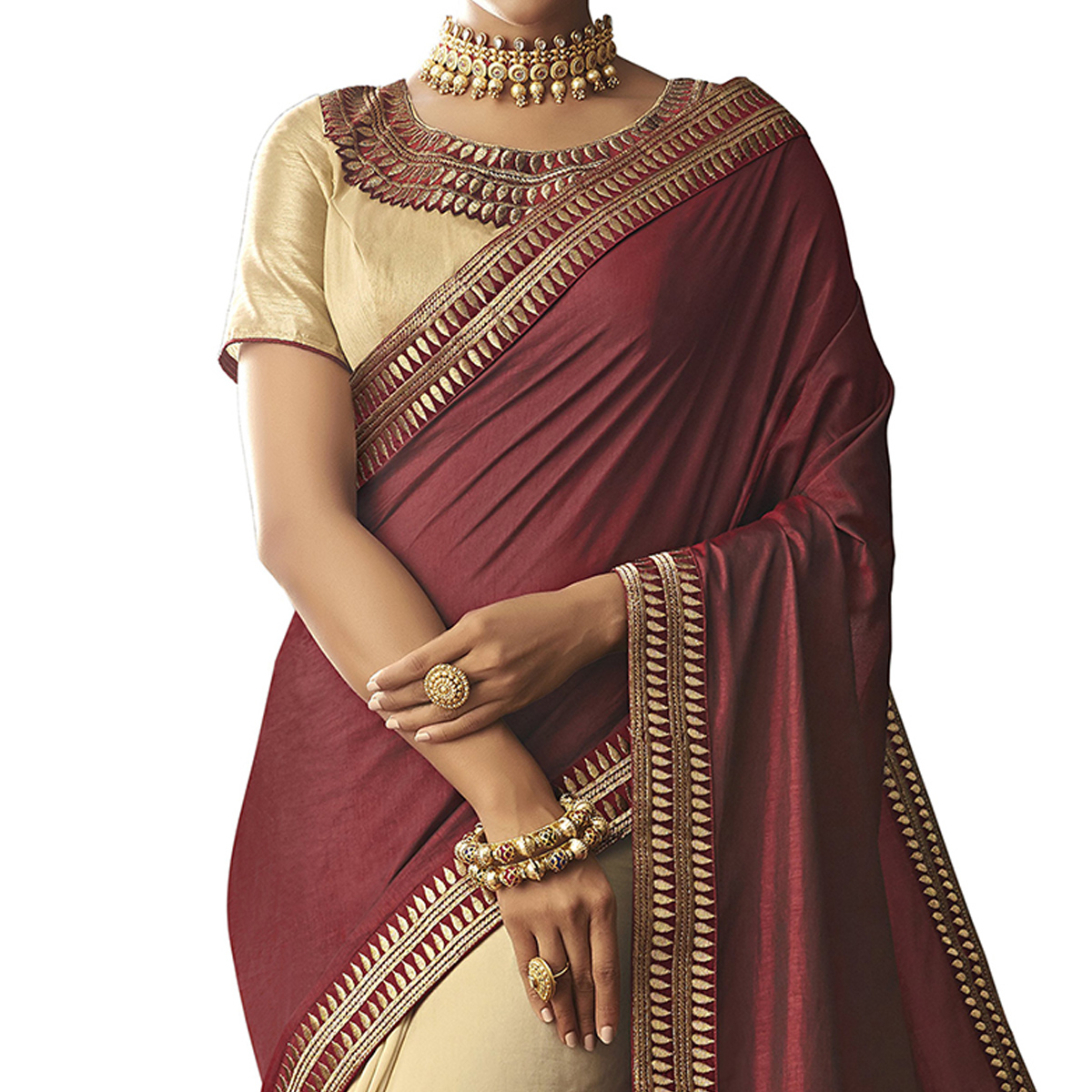 Prominent Maroon-Cream Colored Partywear Embroidered Raw Silk Saree