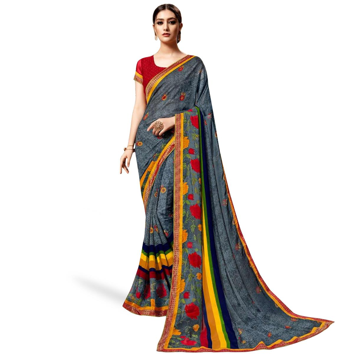 Glorious Gray Colored Casual Printed Georgette Saree