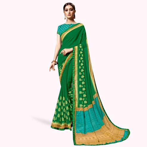 Attractive Dark Green Colored Casual Printed Georgette Saree