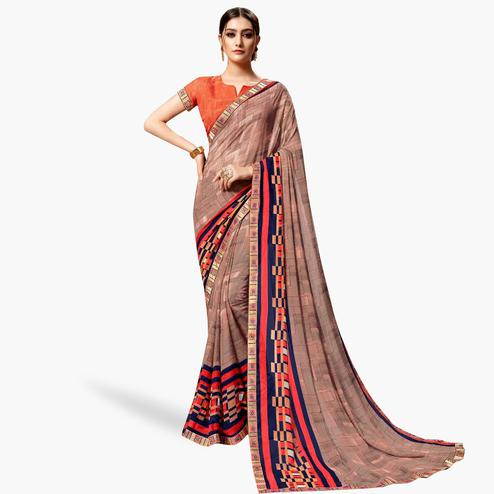 Graceful Mauve Colored Casual Printed Georgette Saree