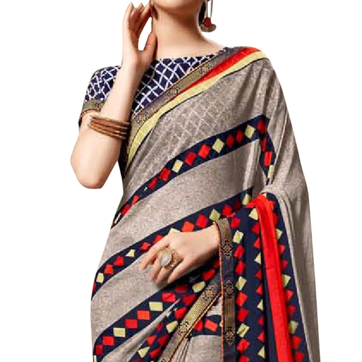 Blooming Gray Colored Casual Printed Georgette Saree