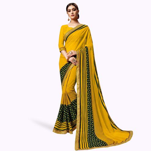 Charming Yellow Colored Casual Printed Georgette Saree