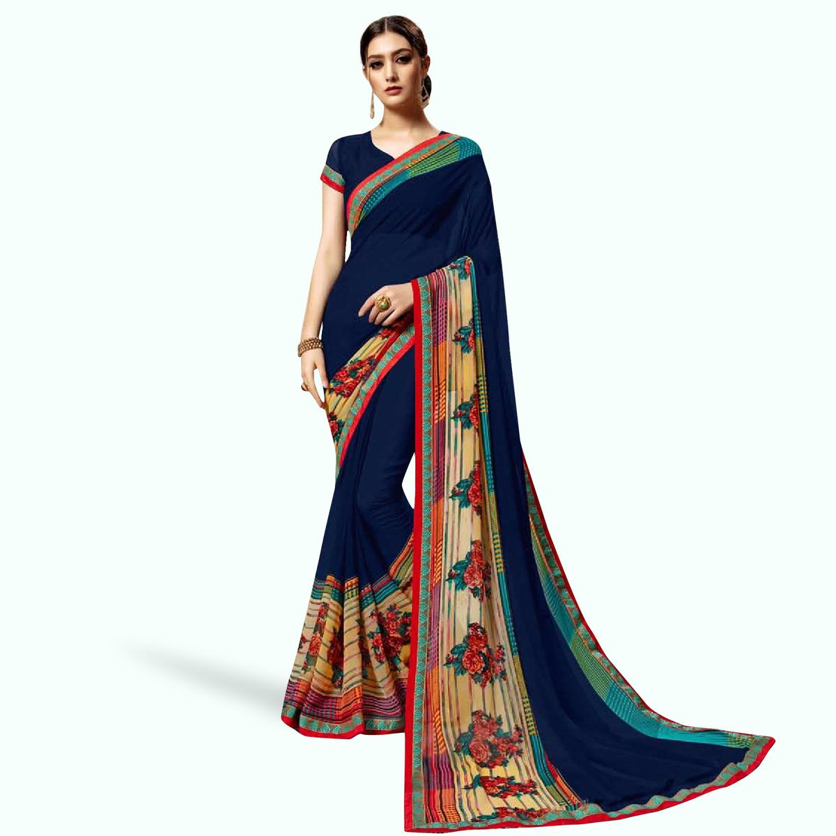 Jazzy Navy Blue Colored Casual Printed Georgette Saree