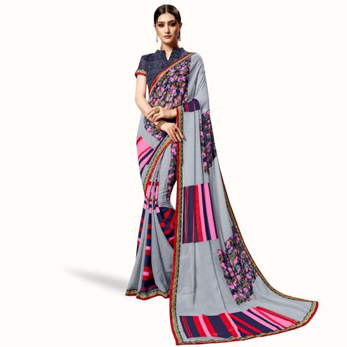Delightful Slate Gray Colored Casual Printed Georgette Saree