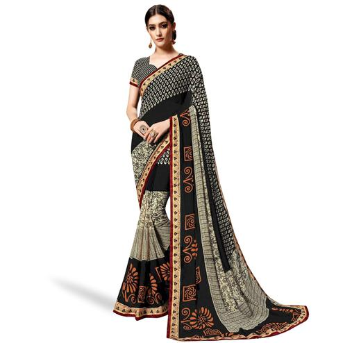 Engrossing Cream-Black Colored Casual Printed Georgette Saree