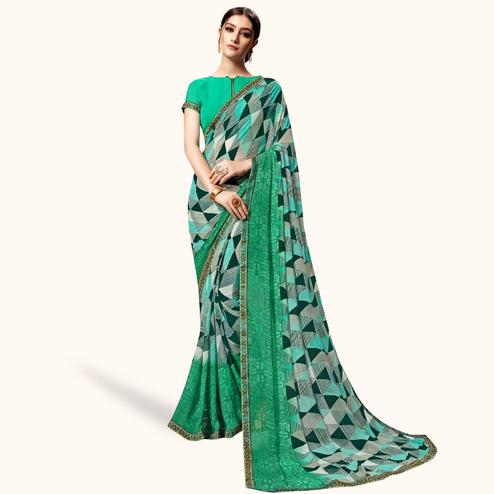 Captivating Green-Multi Colored Casual Printed Georgette Saree