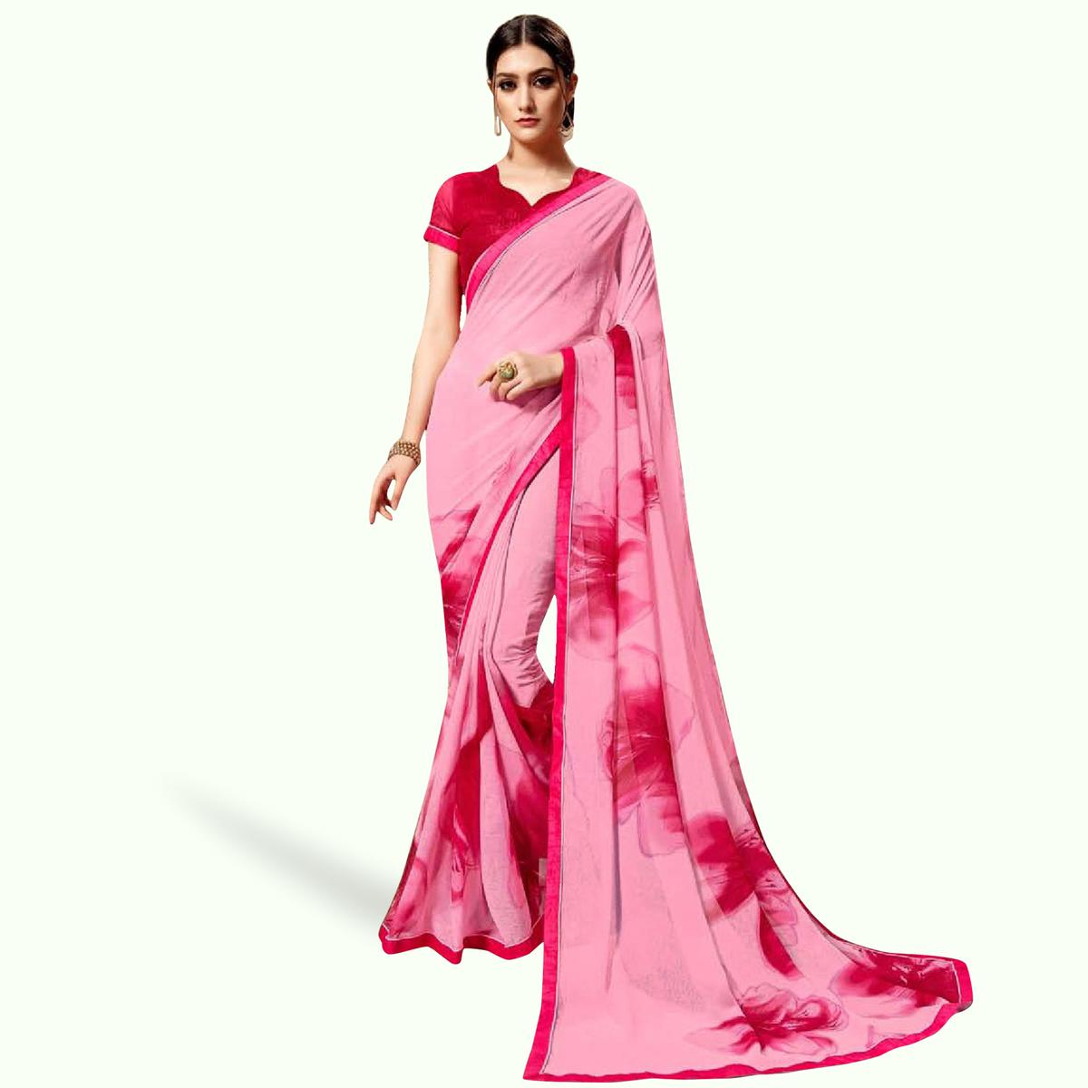 Innovative Pink Colored Casual Printed Georgette Saree