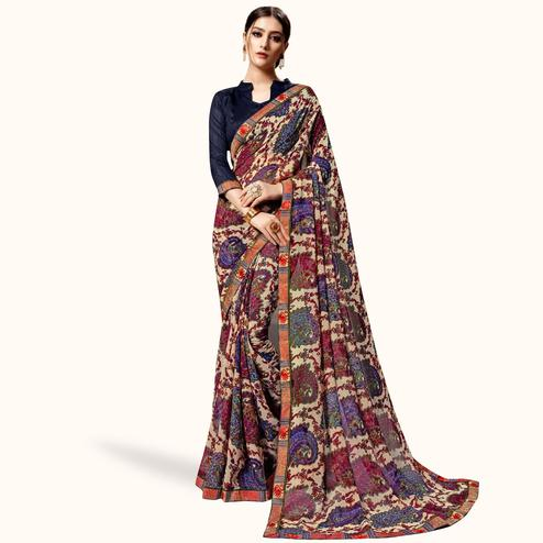 Eye-catching Multi Color Casual Printed Georgette Saree