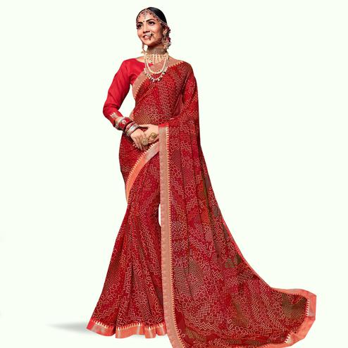 Amazing Red Colored Bandhani Printed Heavy Georgette Saree With Jacquard Lace Border