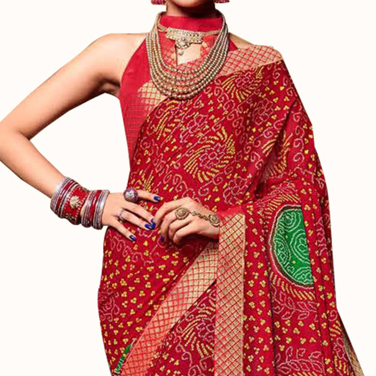Imposing Red Colored Bandhani Printed Heavy Georgette Saree With Jacquard Lace Border