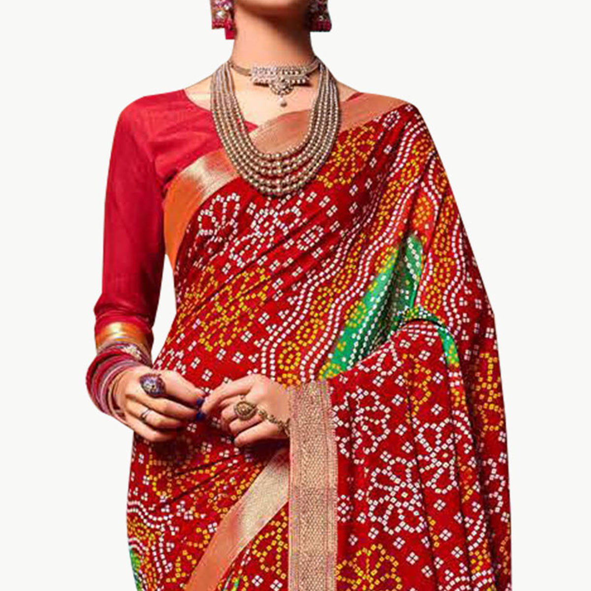 Breathtaking Red Colored Bandhani Printed Heavy Georgette Saree With Jacquard Lace Border