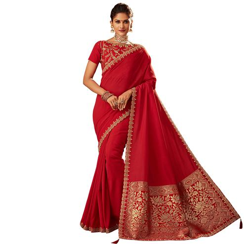 Elegant Red Colored Partywear Embroidered Silk Saree