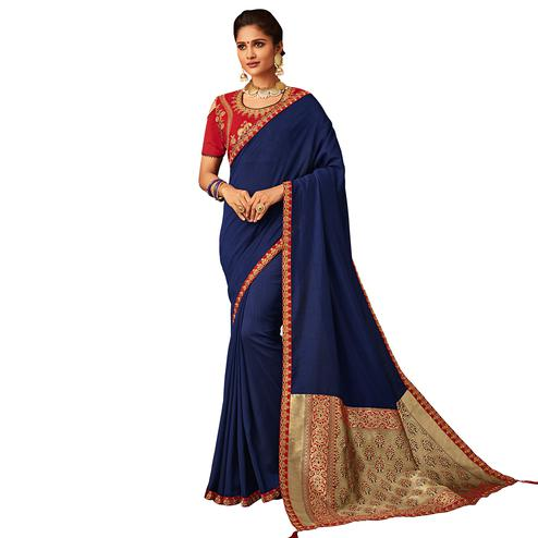 Pleasant Blue Colored Partywear Embroidered Silk Saree