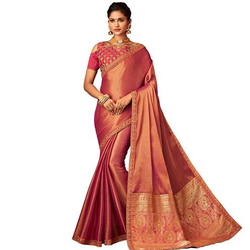 Energetic Rose Gold Colored Partywear Embroidered Silk Saree