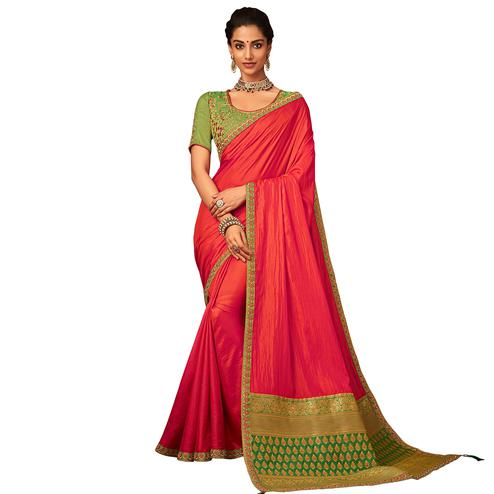 Exceptional Red Colored Partywear Embroidered Raw Silk Saree