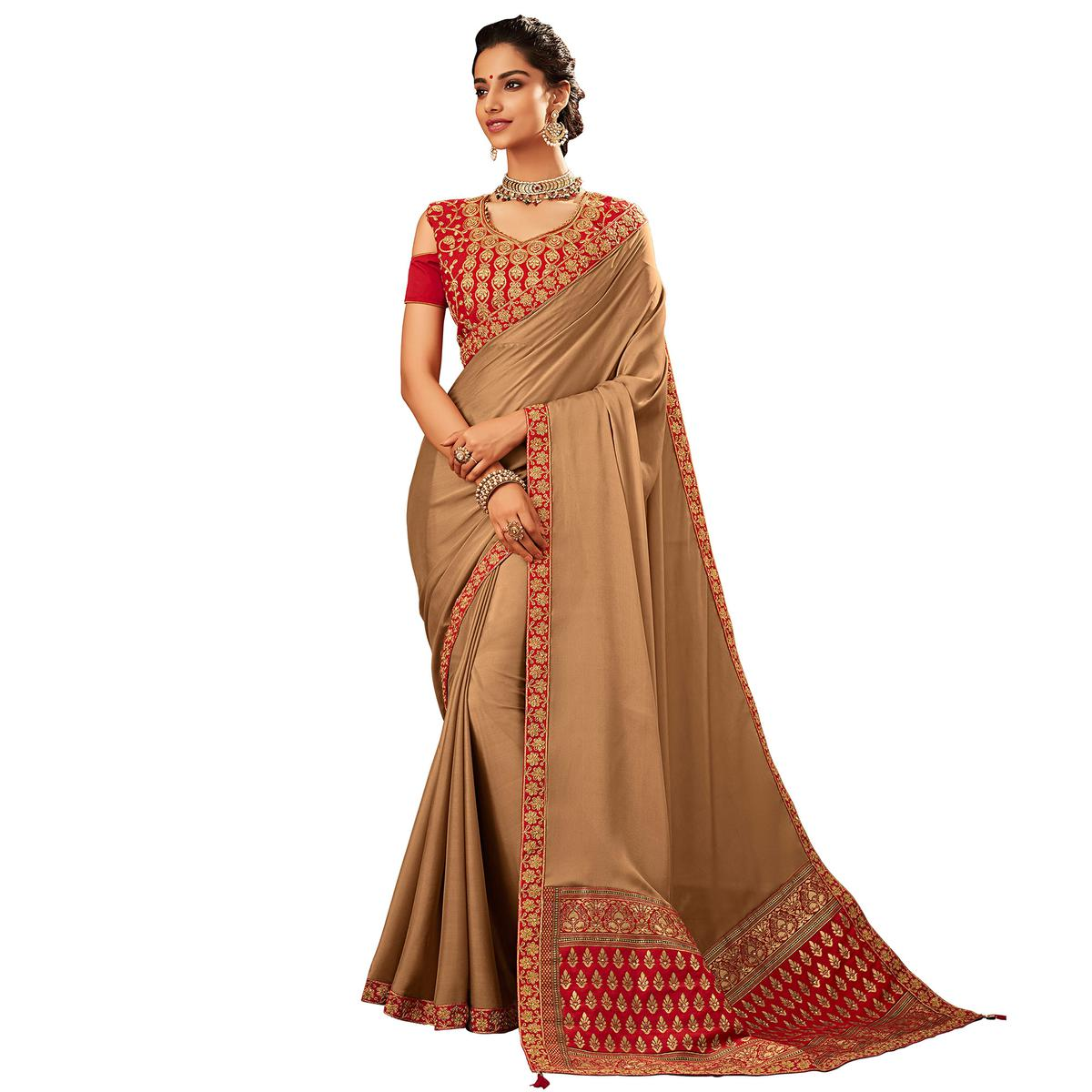 Mesmeric Beige Colored Partywear Embroidered Two Tone Georgette Saree