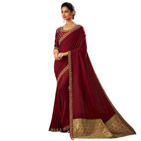 Demanding Maroon Colored Partywear Embroidered Silk Saree