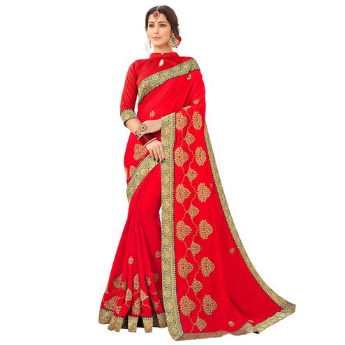 Intricate Red Colored Partywear Embroidered Satin Silk Saree