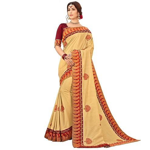 Arresting Beige Colored Partywear Embroidered Raw Silk Saree