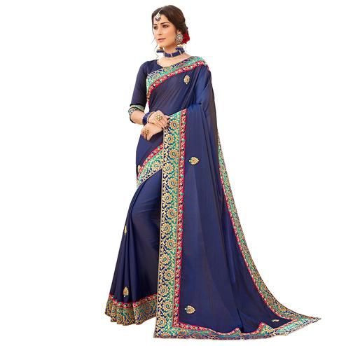 Exotic Navy Blue Colored Partywear Embroidered Satin Silk Saree
