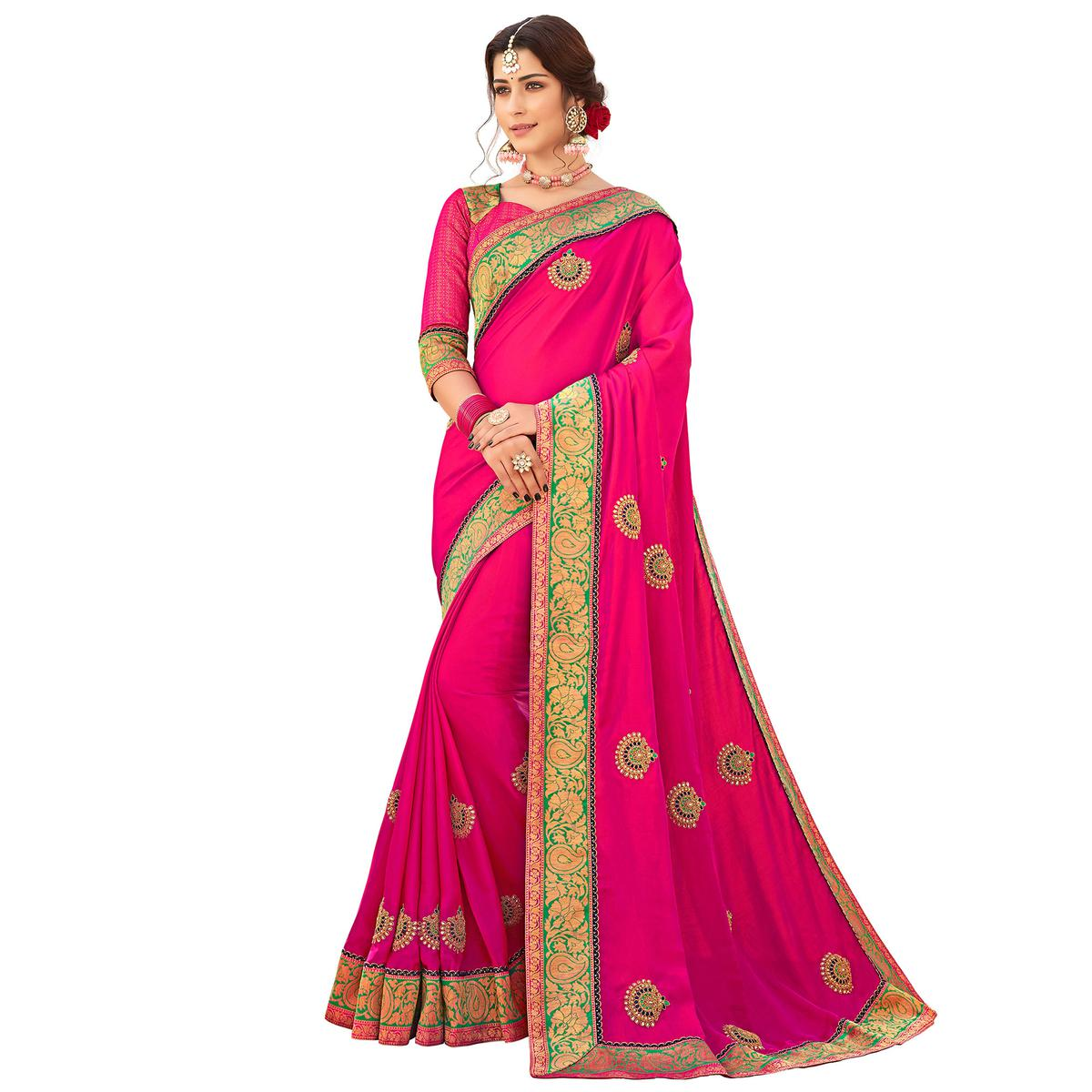 Radiant Pink Colored Partywear Embroidered Satin Silk Saree