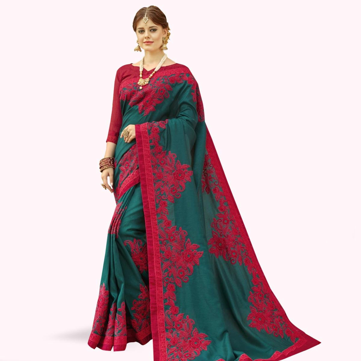 Pleasant Teal Green Colored Partywear Embroidered Chanderi Silk Saree