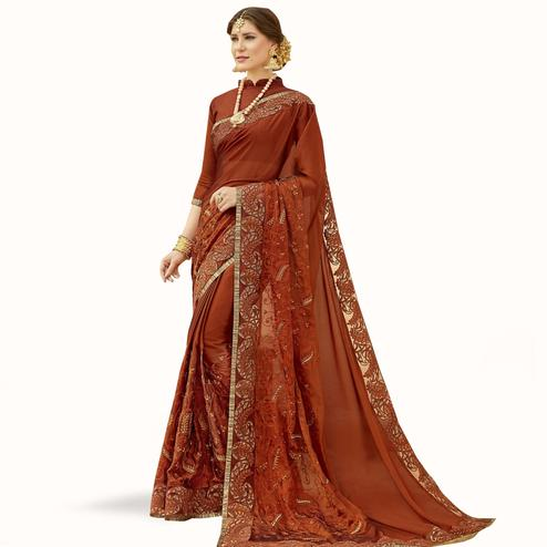Glowing Brown Colored Partywear Embroidered Georgette Saree
