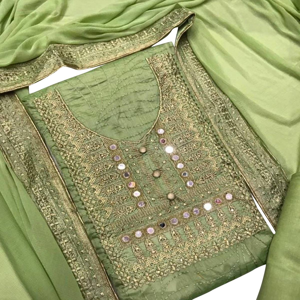 Capricious Green Colored Partywear Embroidered Chanderi Silk Dress Material