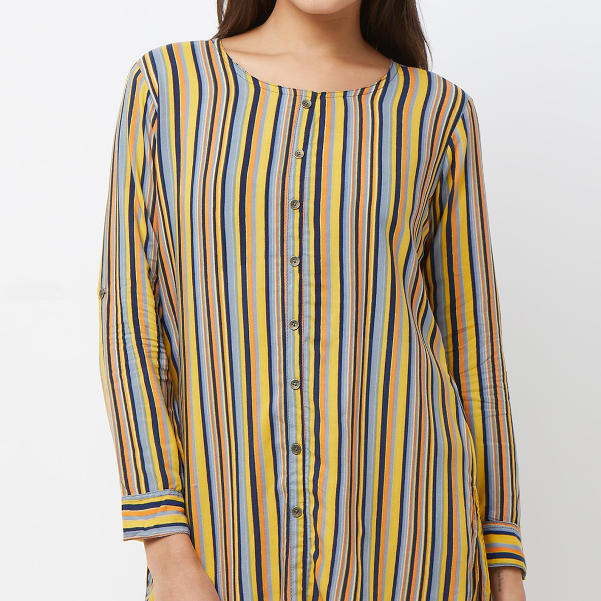 Glowing Yellow-Multi Colored Casual Printed Crepe Top