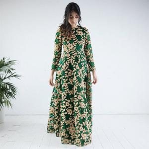 Gorgeous Green Designer Partywear Embroidered Net Gown