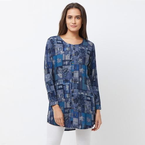 Gleaming Blue-Multi Colored Casual Printed Crepe Short Kurti