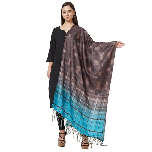 Radiant Brown Colored Casual Printed Pashmina Silk Dupatta