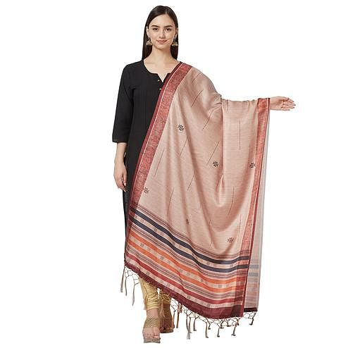 Pleasant Light Peach Colored Casual Printed Pashmina Silk Dupatta