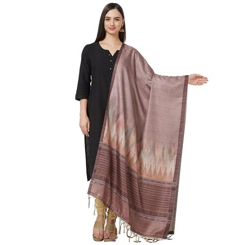 Opulent Brown Colored Casual Printed Pashmina Silk Dupatta