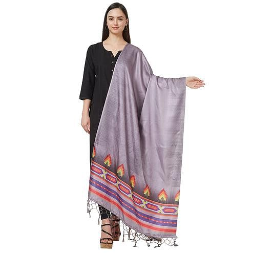 Energetic Light Gray Colored Casual Printed Pashmina Silk Dupatta
