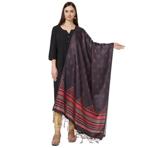 Classy Dark Gray Colored Casual Printed Pashmina Silk Dupatta
