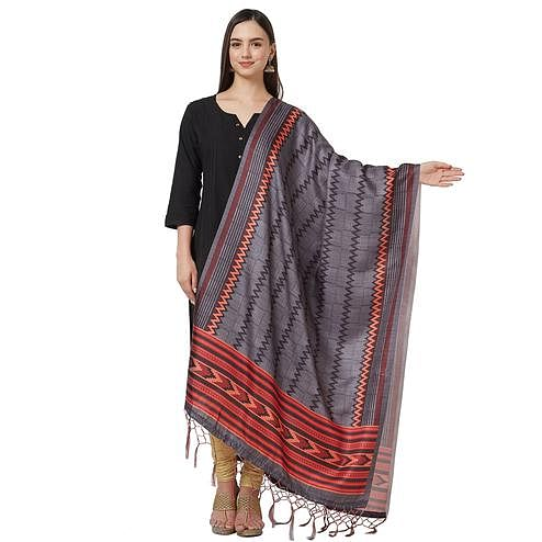 Exceptional Gray Colored Casual Printed Pashmina Silk Dupatta