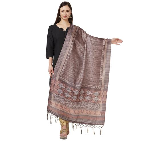 Gleaming Brown Colored Casual Printed Pashmina Silk Dupatta