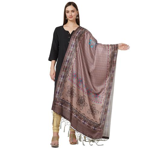 Mesmeric Brown Colored Casual Printed Pashmina Silk Dupatta