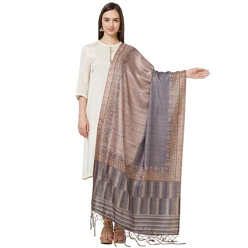 Unique Beige-Gray Colored Casual Printed Pashmina Silk Dupatta