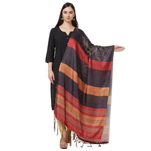 Demanding Blackish Gray Colored Casual Printed Pashmina Silk Dupatta