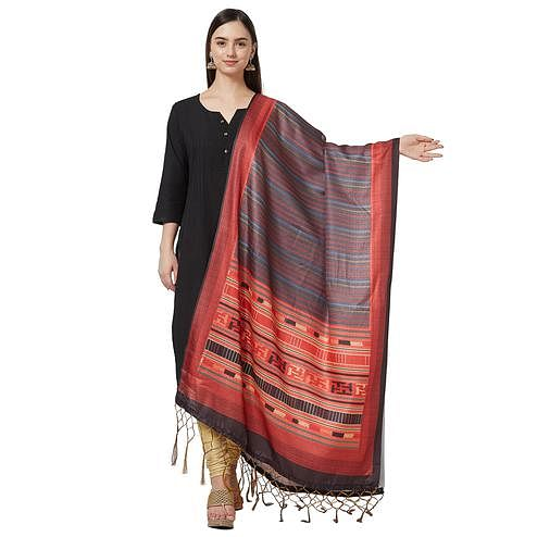Refreshing Gray-Multi Colored Casual Printed Pashmina Silk Dupatta