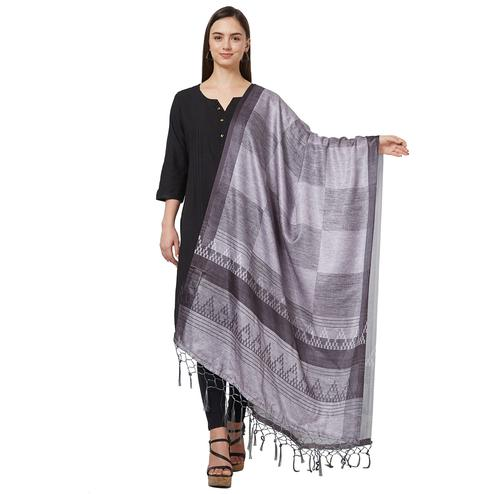 Magnetic Gray Colored Casual Printed Pashmina Silk Dupatta