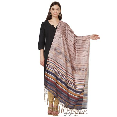 Hypnotic Beige Colored Casual Printed Pashmina Silk Dupatta