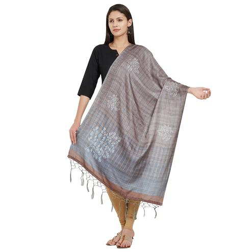 Flattering Gray Colored Casual Printed Pashmina Silk Dupatta